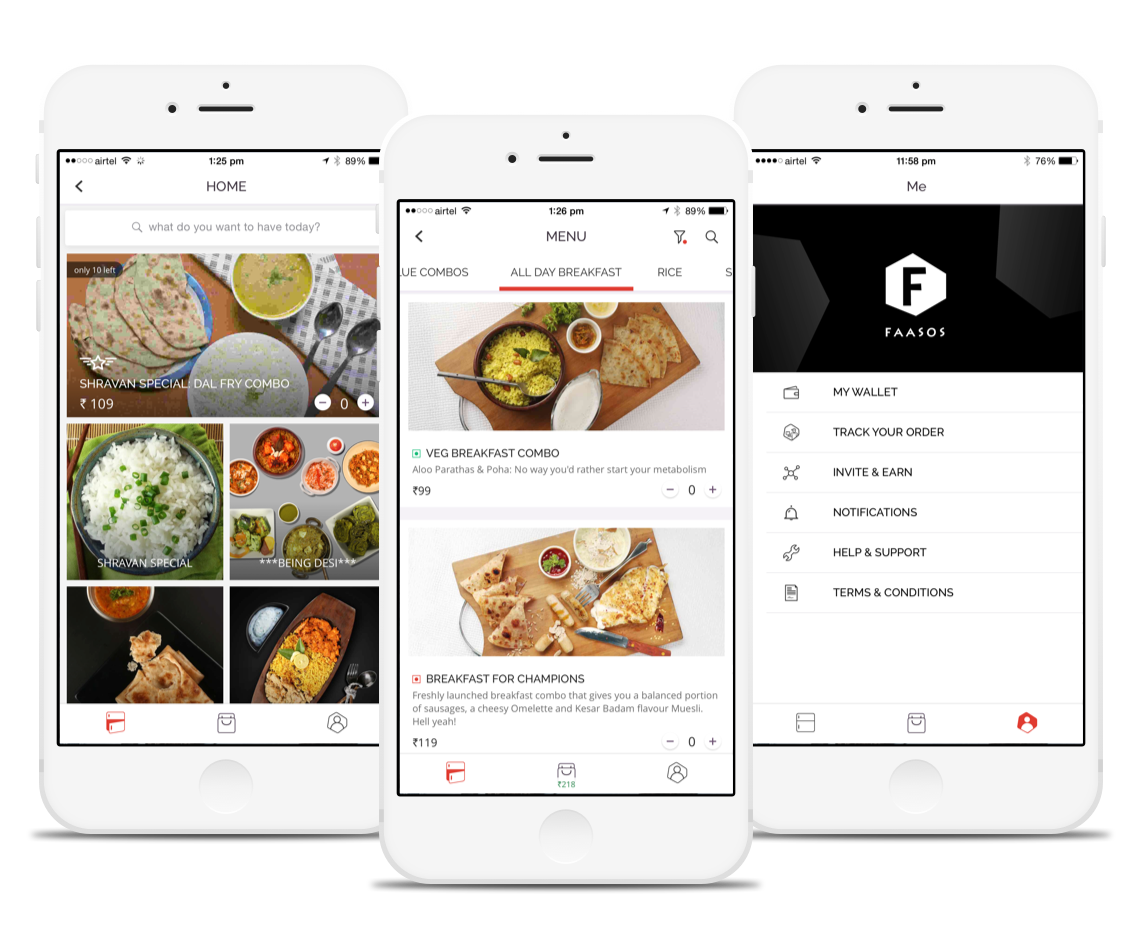 Here are screenshots of the Faasos mobile applications. It helps you order food anywhere in India.