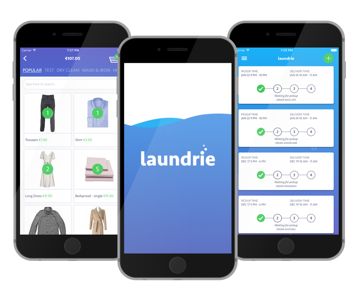 Here are the screenshots of the Laundrie App. Its an on demand washing and ironing app for Dublin.