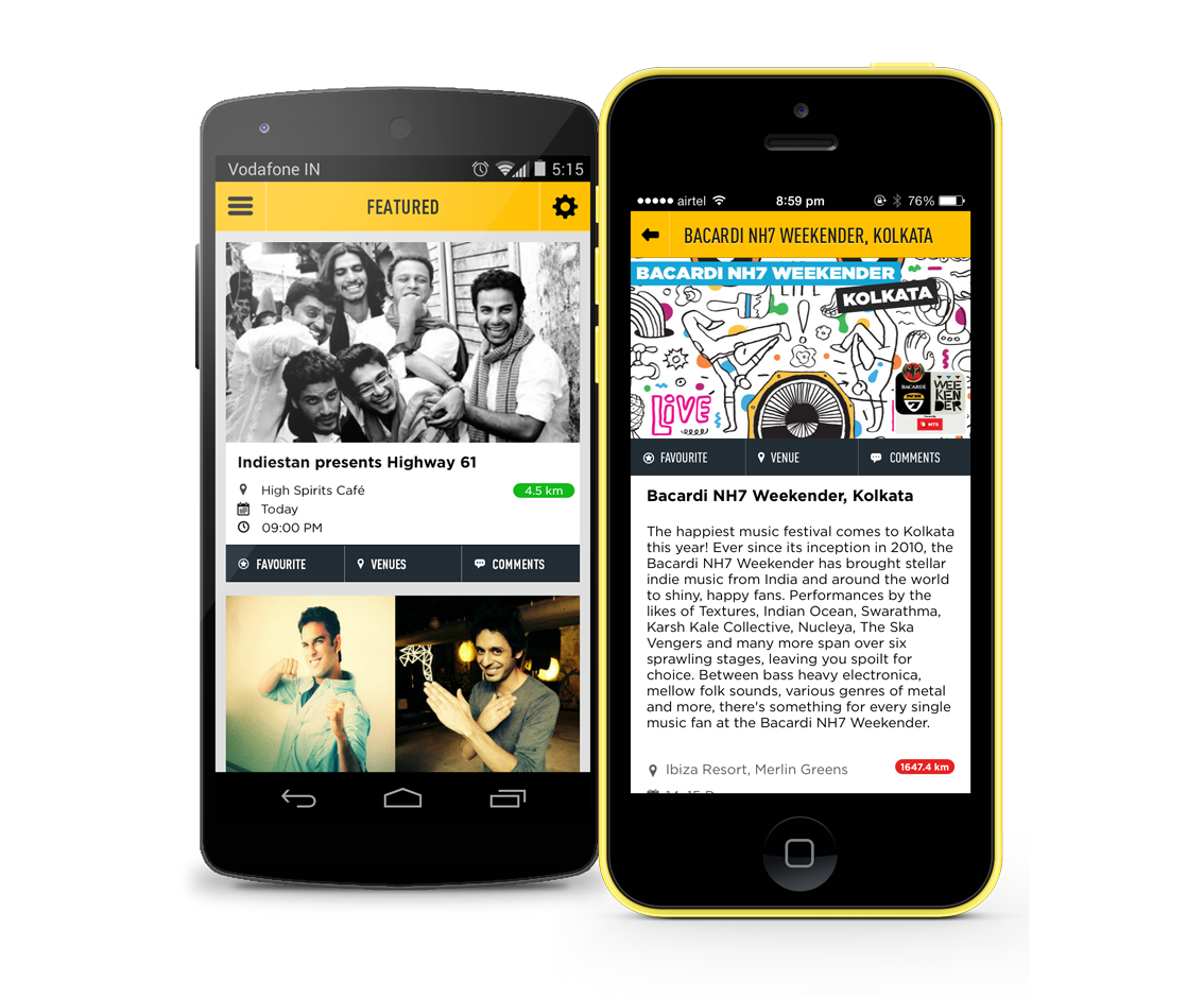 Here are the screenshots of the NH7 InTown application that we made with OML. It helps you find events in your city.